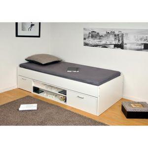 lit 1 place avec tiroir achat vente lit 1 place avec tiroir pas cher cdiscount. Black Bedroom Furniture Sets. Home Design Ideas