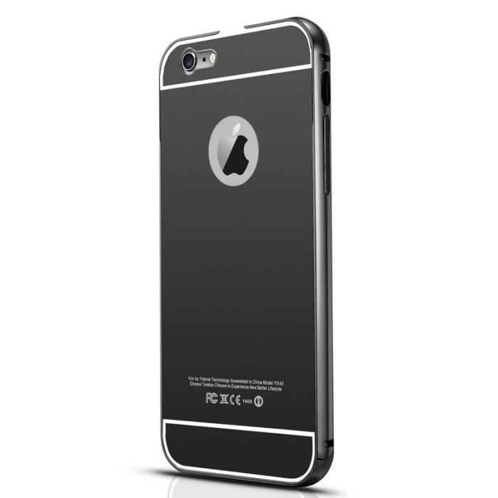 Etui coque housse aluminium bumper miroir noire pour for Application miroir iphone