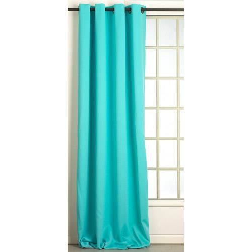 Rideau occultant turquoise 140x0260 achat vente rideau soldes d t cdiscount for Rideau turquoise