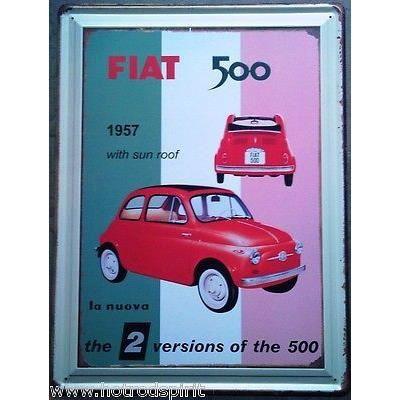 plaque tole publicitaire fiat 500 1957 decouvrable rouge d co loft bar caf achat vente. Black Bedroom Furniture Sets. Home Design Ideas