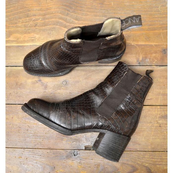 boots crocos freelance vintage marron marron achat vente bottine cdiscount. Black Bedroom Furniture Sets. Home Design Ideas