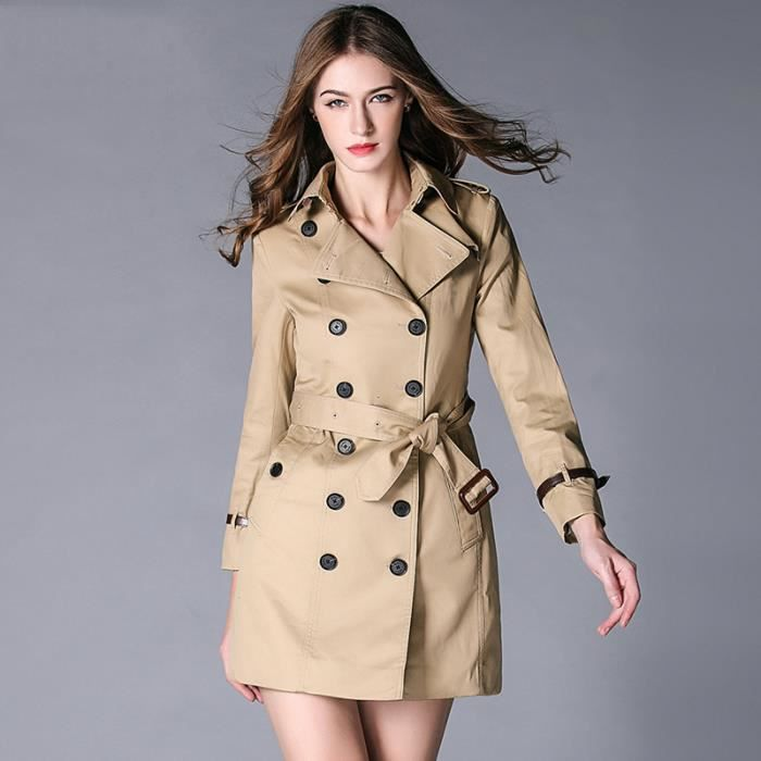 manteau femme trench double boutonnage kaki achat vente imperm able trench cdiscount. Black Bedroom Furniture Sets. Home Design Ideas