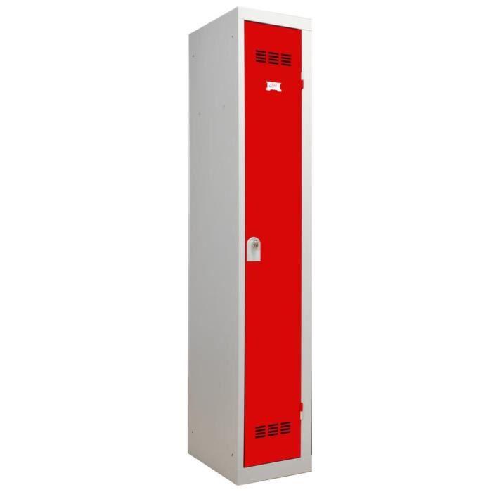 Vestiaire industriel m tal 1 porte rouge achat vente meuble d 39 entr e - Vestiaire industriel 1 porte ...