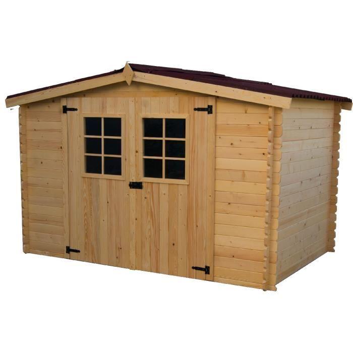 Abri de jardin 9 42m en bois massif toiture en plaques for Abri de jardin en bois en solde