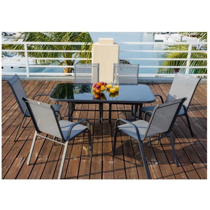 Ensemble table de jardin 150 6 fauteuils acier textilene for Ensemble table fauteuil jardin