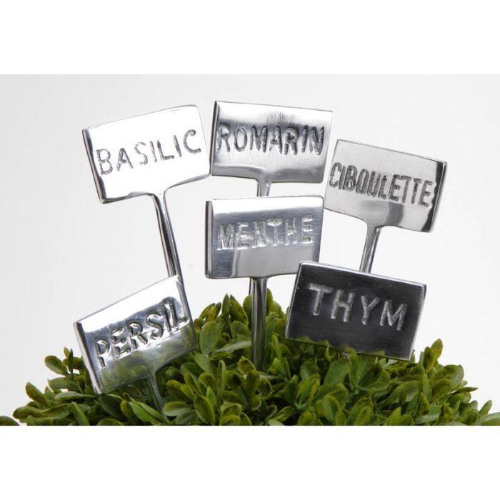 6 marqueurs pour plantes aromatiques en m tal achat. Black Bedroom Furniture Sets. Home Design Ideas