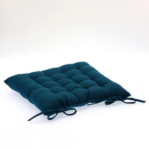 Galette de chaise 38 x 38 cm bleu achat vente - Galette de chaise avec rabat ...