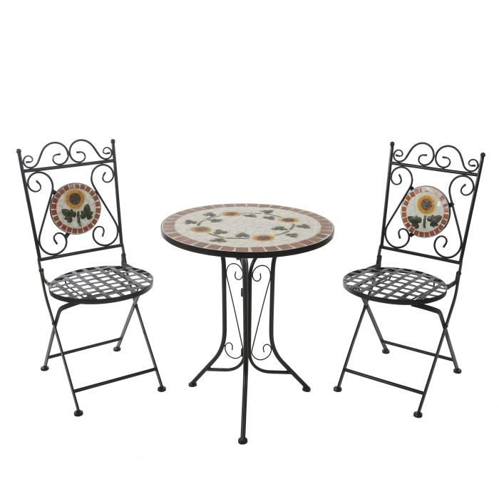 Salon de jardin andria t211 mosaique 2xchaise 1xtable for Salon de jardin mosaique