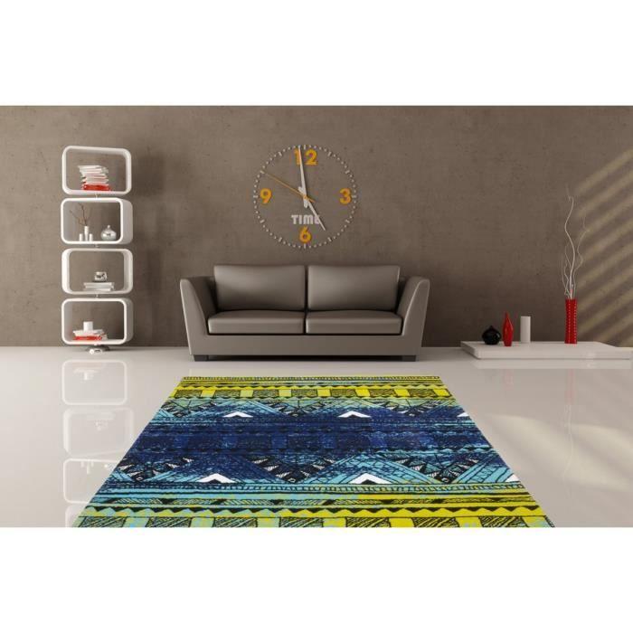 tapis motifs moderne pour salon vert et bleu toluca 80x150cm vert achat vente tapis. Black Bedroom Furniture Sets. Home Design Ideas