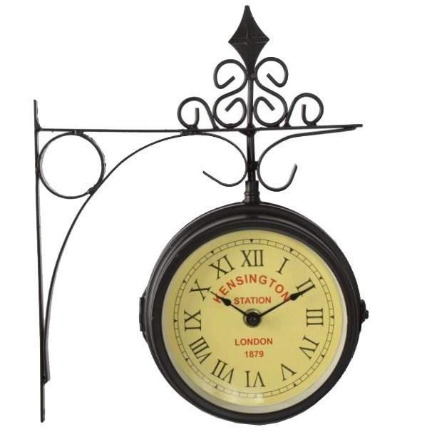 horloge de gare r tro double face kensington achat vente horloge m tal cdiscount. Black Bedroom Furniture Sets. Home Design Ideas