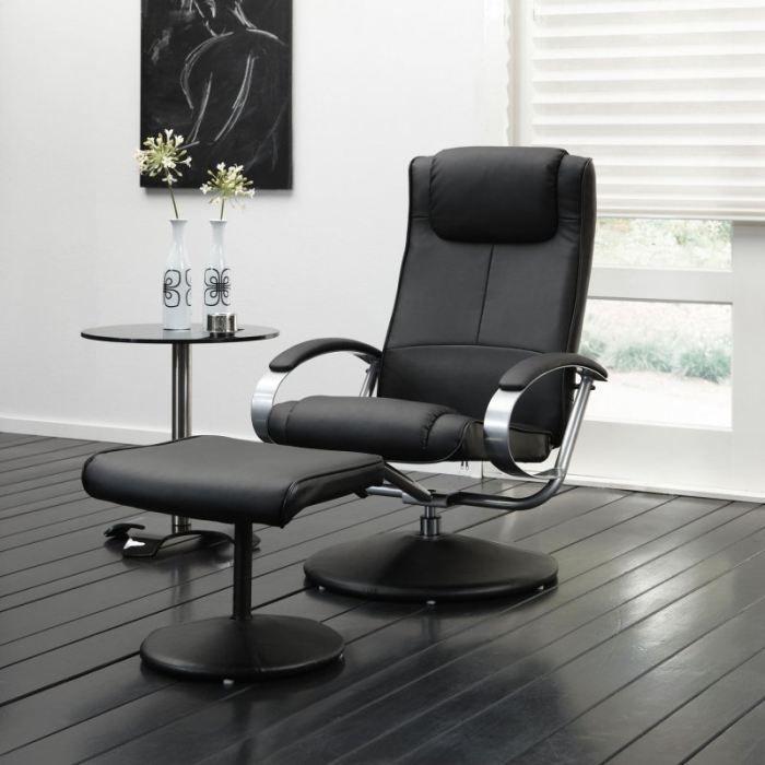 Fauteuil de relaxation design relax noir achat vente fauteuil mati re de - Fauteuil relaxation design ...