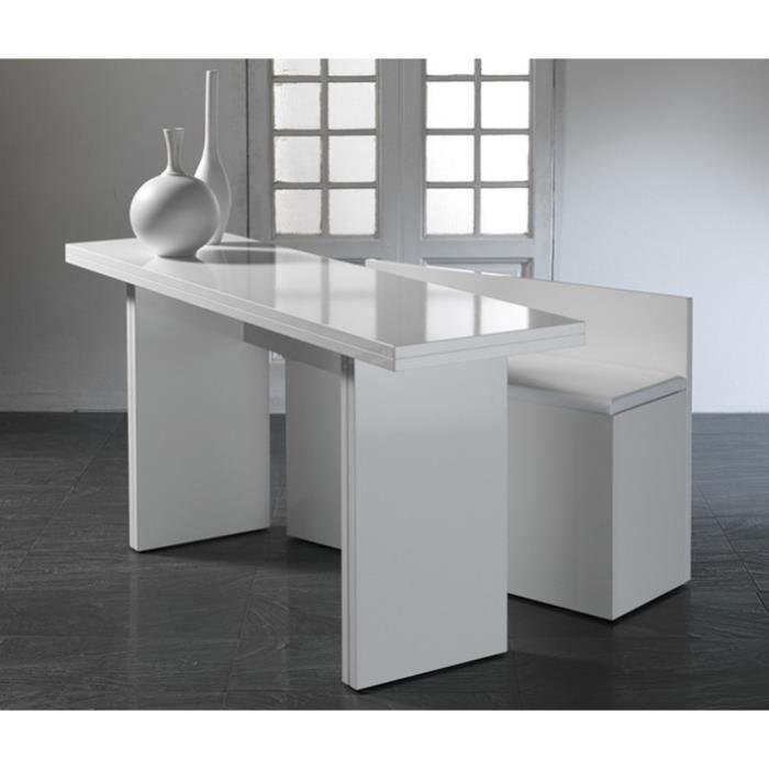 Lava console table rabats blanche avec banc inclus achat vente consol - Console qui se transforme en table ...