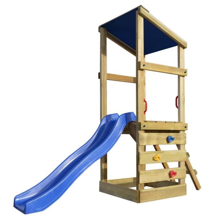 vidaxl aire de jeux avec chelle et toboggan en bois. Black Bedroom Furniture Sets. Home Design Ideas