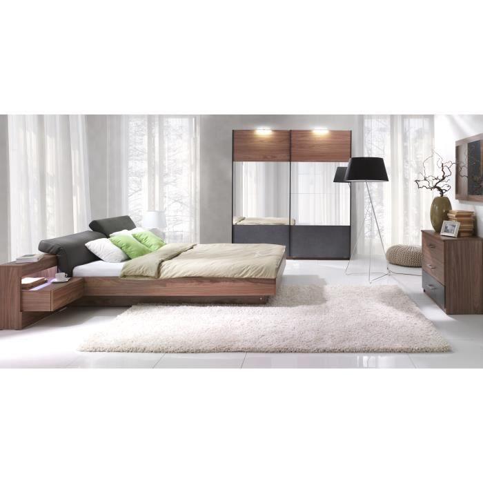 chambre coucher compl te renato lit sommier tables de chevet int gr es commode armoire 200. Black Bedroom Furniture Sets. Home Design Ideas