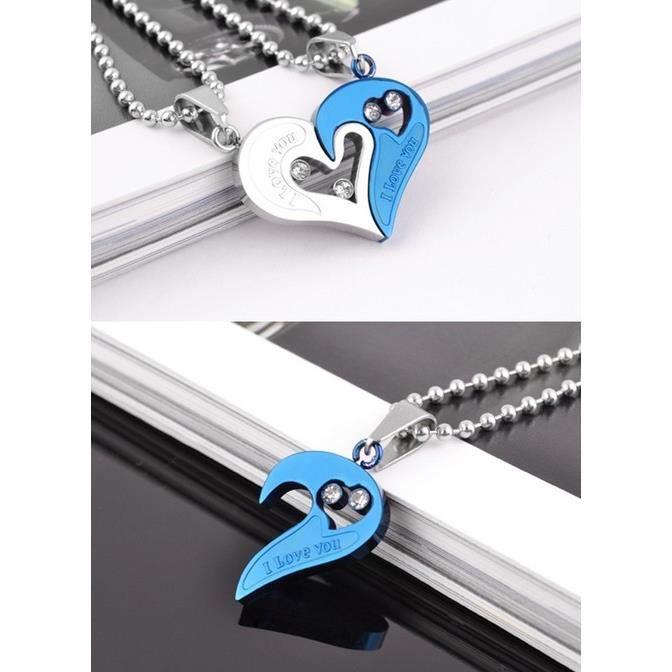 pendentif coeur s parable acier i love you coloris argent bleu 2 chaines achat vente. Black Bedroom Furniture Sets. Home Design Ideas