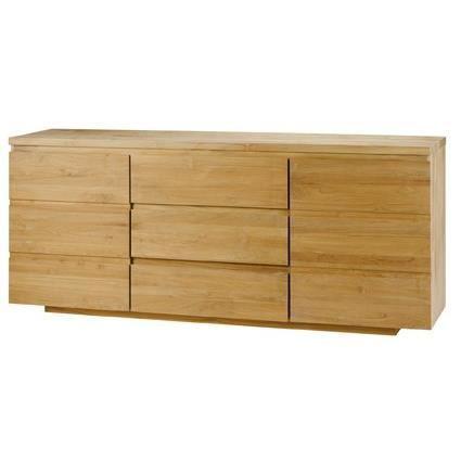 bahut 2 portes 3 tiroirs teck zago clair meuble house