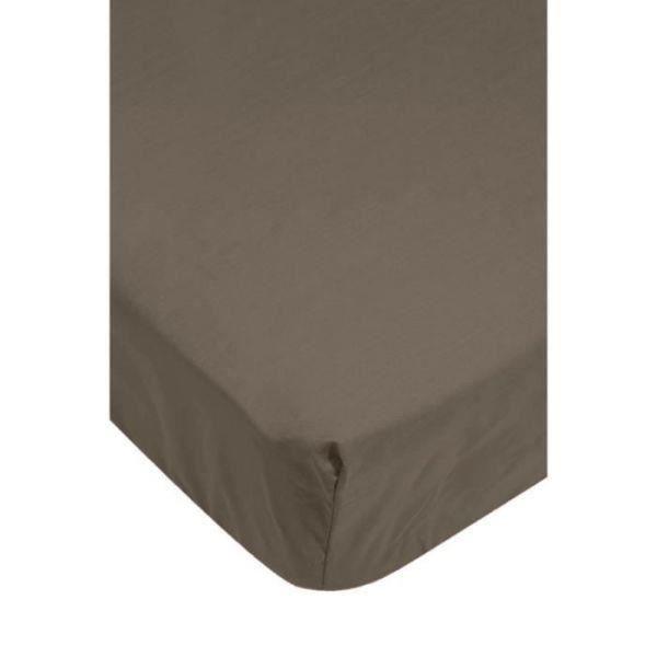 Drap housse 80x200 cm 100 coeur de coton taupe achat for Draps housse 80x200