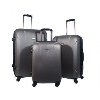 ensemble de 3 valises en coque semi rigide ut taupe achat vente set de valises. Black Bedroom Furniture Sets. Home Design Ideas