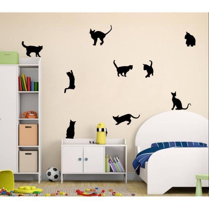 amovible 9 chats autocollants muraux vinyle Accueil décoratifs muraux ...