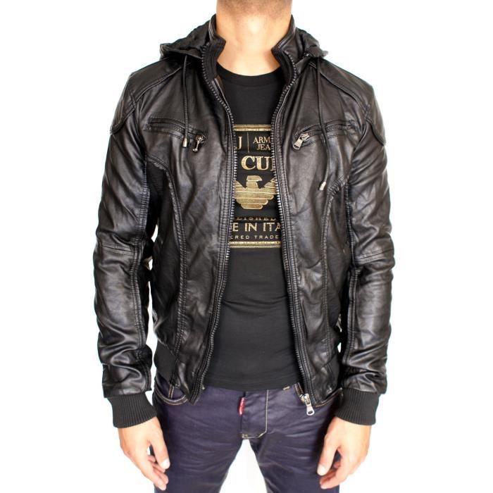 veste simili cuir capuche neuf homme noir achat vente. Black Bedroom Furniture Sets. Home Design Ideas