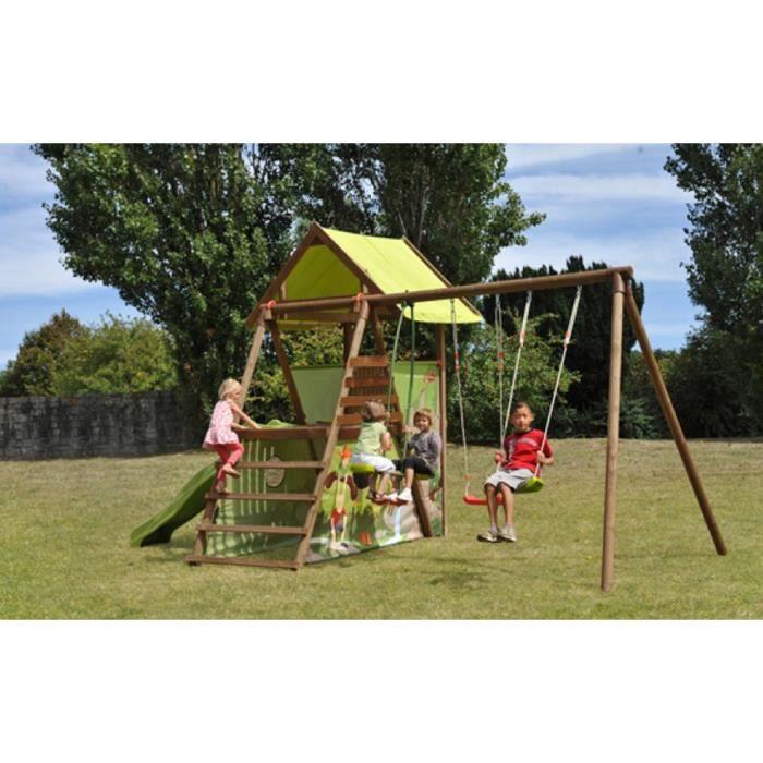 aire de jeux en bois pour enfant 2 35 x 5 65 x 3 10 m achat vente balan oire portique. Black Bedroom Furniture Sets. Home Design Ideas
