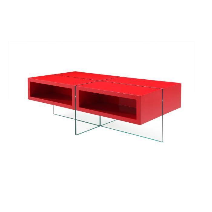 Table basse en verre et bois rouge achat vente table for Table en verre et bois