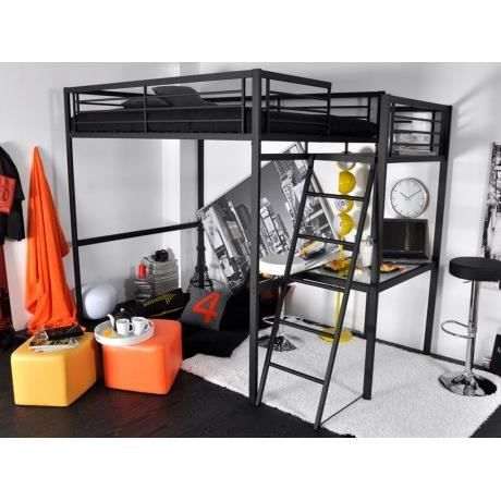 Lit mezzanine casual ii couchage 140x190cm plateforme bureau coloris an - Lit en hauteur 1 place ...