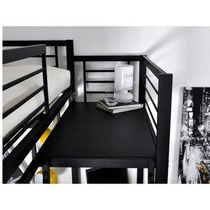 Lit mezzanine 140x190 achat vente lit mezzanine - Lit mezzanine 2 places bois ...