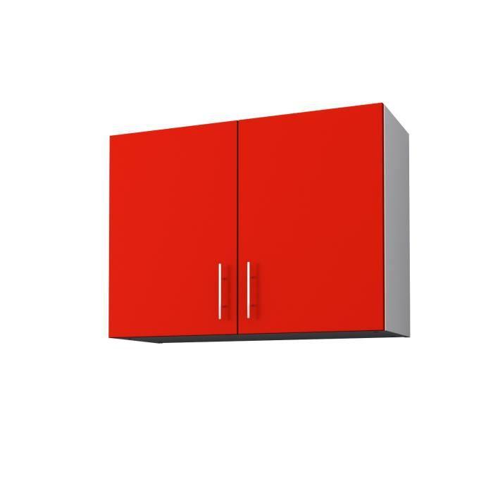 Obi meuble haut de cuisine 80 cm rouge mat achat for Meuble 80x30
