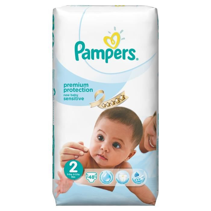 pampers new baby sensitive 48 couches 3 6 kg taille 2. Black Bedroom Furniture Sets. Home Design Ideas