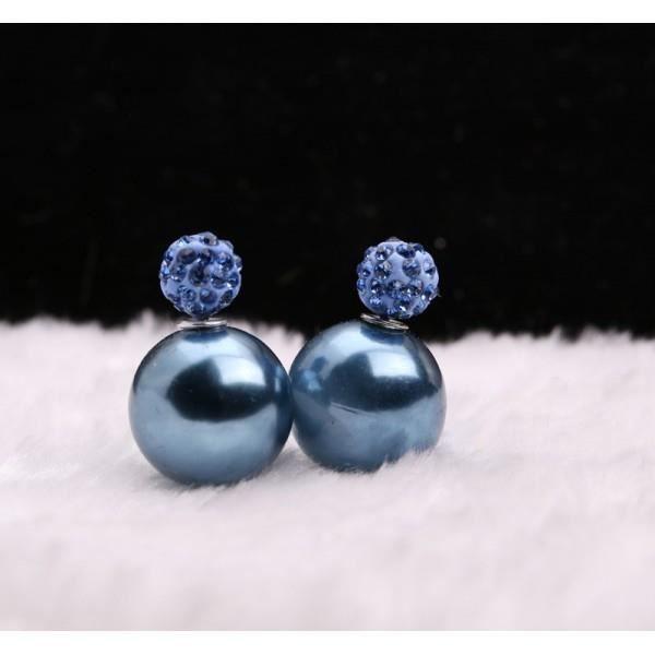boucles d 39 oreilles double boule shamballa bleu achat vente boucle d 39 oreille boucles d. Black Bedroom Furniture Sets. Home Design Ideas
