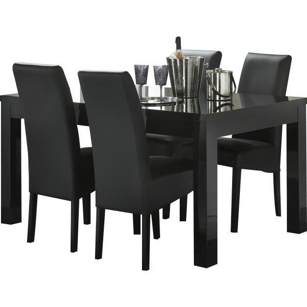 Table salle manger coloris noir brillant 160cm achat for Table salle a manger noir