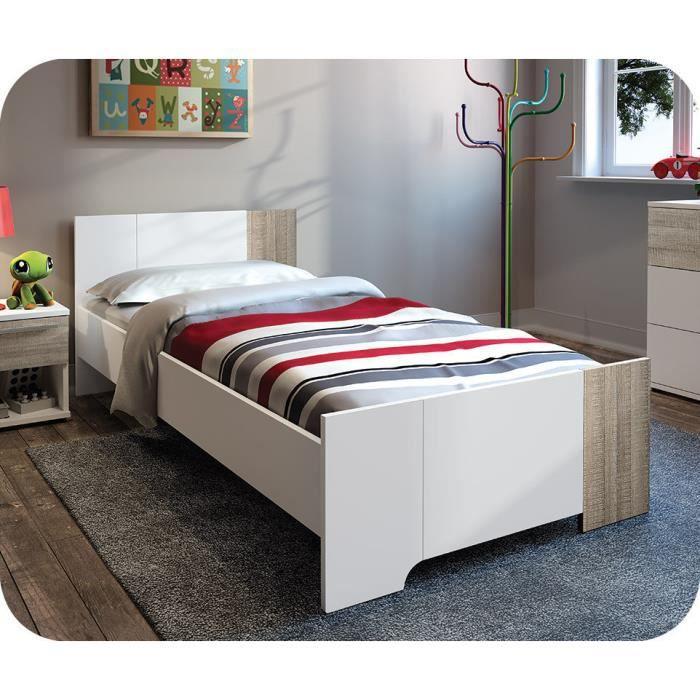lit enfant jazz 90 x 190 cm blanc et ch ne gris achat vente lit complet lit enfant jazz 90 x. Black Bedroom Furniture Sets. Home Design Ideas