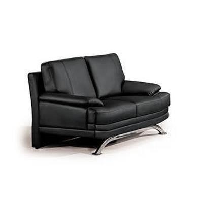 Canap 2 places noir en cuir moderne achat vente for Canape cuir noir 2 places