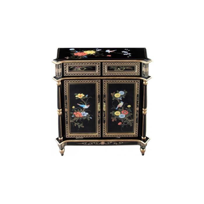 Meuble d 39 entr e chinois colonnes laque noire 2 portes for Meuble style chinois
