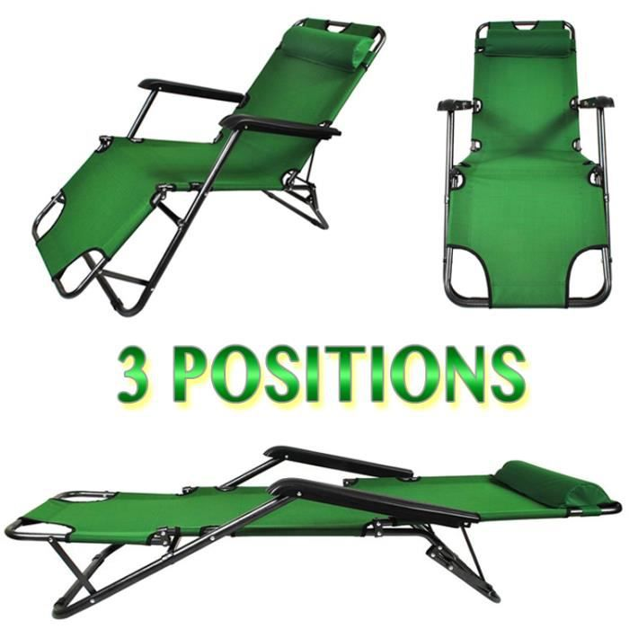chaise longue transat 3 positions fauteuil pliable jardin piscine plage vert achat vente. Black Bedroom Furniture Sets. Home Design Ideas