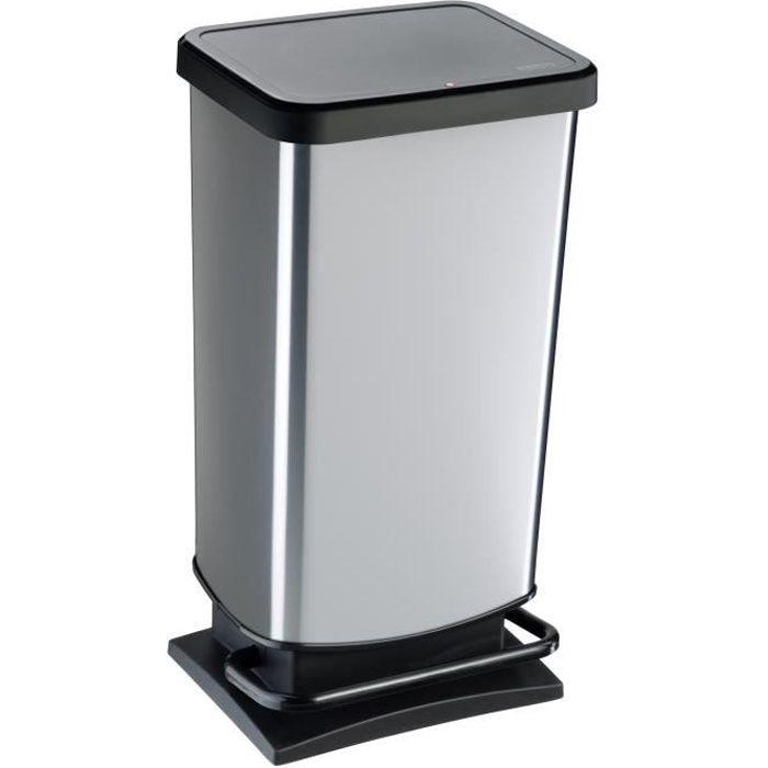 poubelle de cuisine m tal grise achat vente poubelle corbeille poubelle de cuisine m tal g. Black Bedroom Furniture Sets. Home Design Ideas