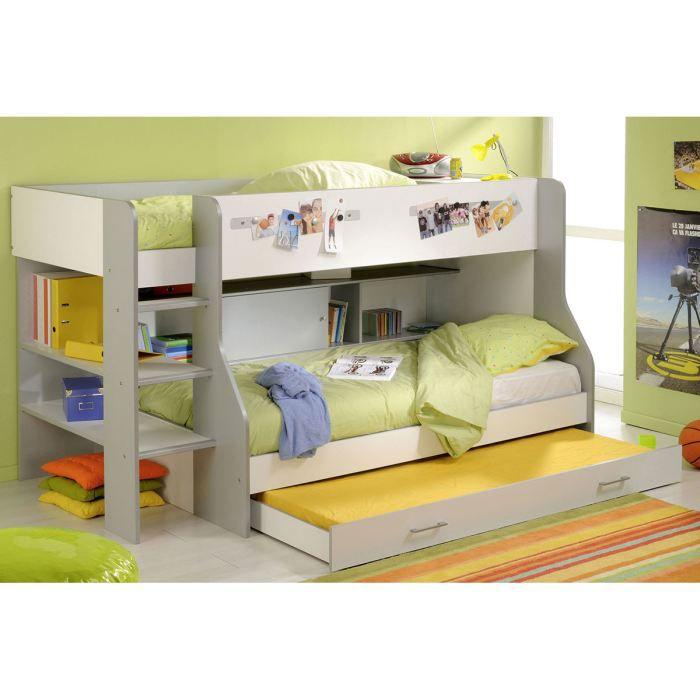 Tiroir pour lit enfant gris argent et blanc noah achat vente tiroir de li - Lit pour les enfants ...
