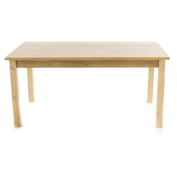 Table repas pin massif 160 x 90 cm pays achat vente table a manger seule - Table repas bois massif ...