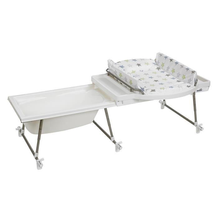 Geuther dispositif combin aqualino pvc toile blanc et for Combine lit table a langer