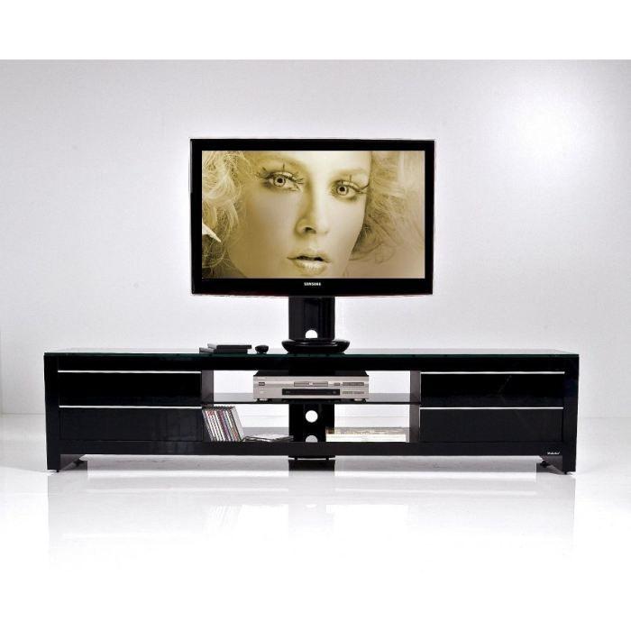 Meuble tv design noir prm 170h bbb 32 60 pouces achat for Meuble tv noir