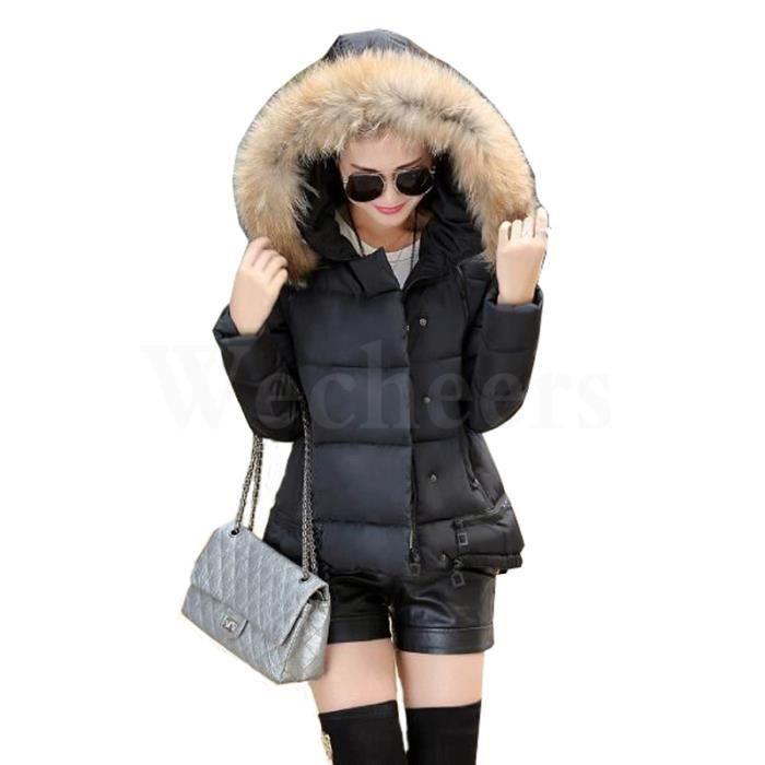 doudoune femme avec capuche fausse fourrure noir noir achat vente doudoune cdiscount. Black Bedroom Furniture Sets. Home Design Ideas
