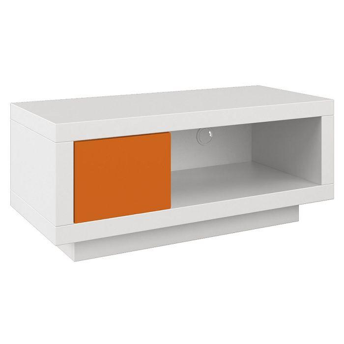 Varic m blanc tiroir orange achat vente meuble tv for Meuble dvd ferme