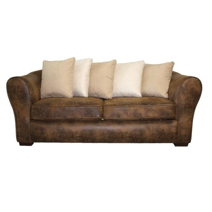 Canap fixe 3 places switsofa montana simili micro achat for Canape fixe 3 places