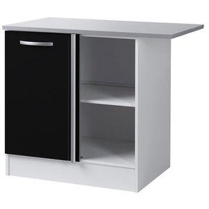 Meuble bas d 39 angle de cuisine noir 100 cm h 86 x l 100 x - Element bas angle cuisine ...