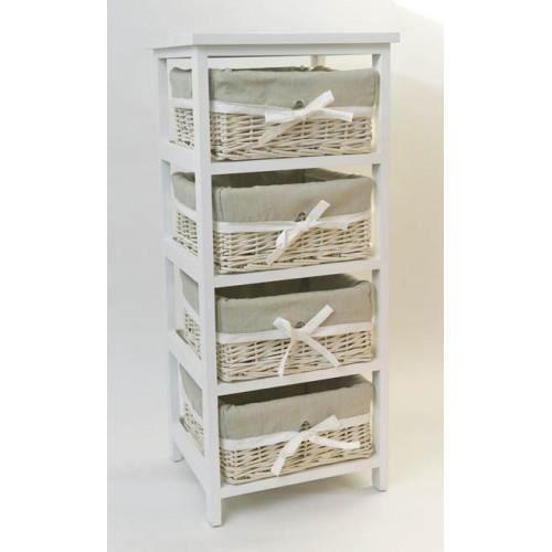 Meuble 4 paniers ivoire achat vente petit meuble for Meuble 4 paniers