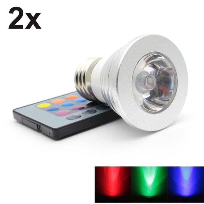 2x e27 3w rgb ampoules led multicolore led 16 changement de couleur d coration avec t l commande. Black Bedroom Furniture Sets. Home Design Ideas