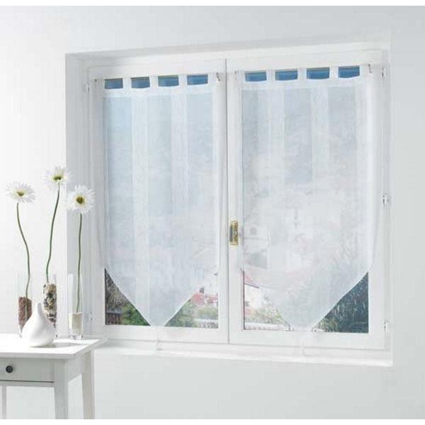 paire de voilages pompons 60x120 h cm salina blanc achat vente rideau cdiscount. Black Bedroom Furniture Sets. Home Design Ideas