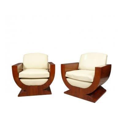 paire de fauteuils art d co achat vente fauteuil beige cdiscount. Black Bedroom Furniture Sets. Home Design Ideas