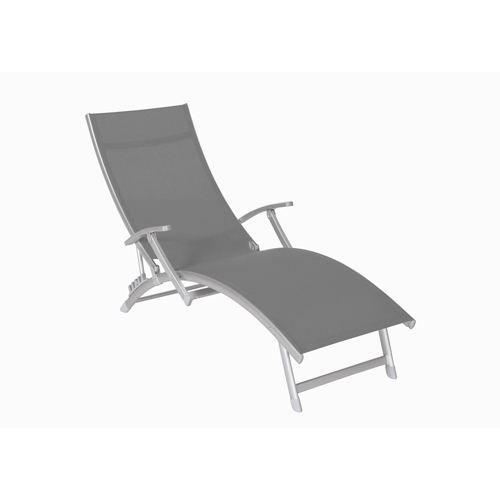 transat chaise longue 4 pos m tal poxy toile achat vente chaise longue transat les. Black Bedroom Furniture Sets. Home Design Ideas